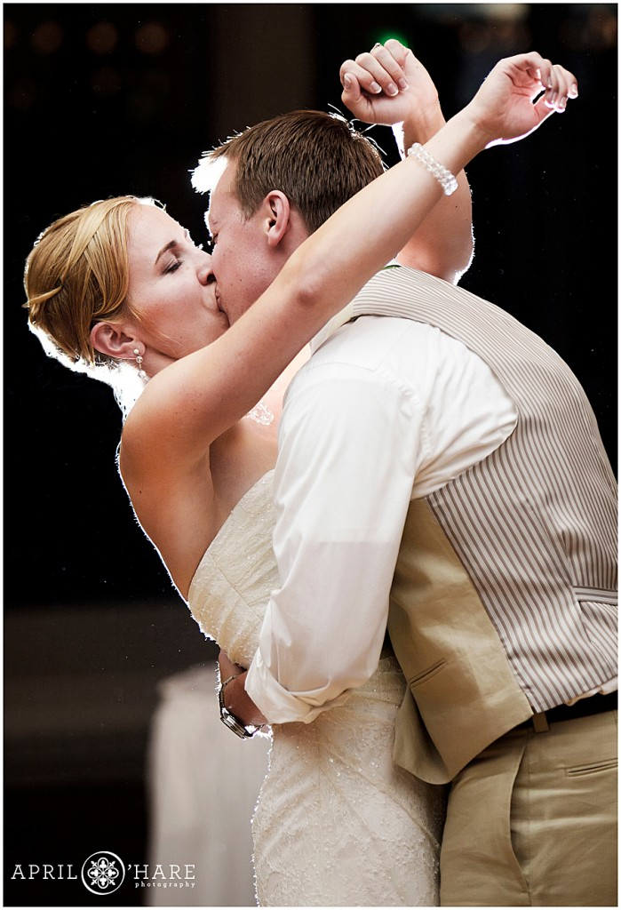 Dramatic-Rim-Light-First-Dance-Photo-at-Steamboat-Springs-Wedding-Reception